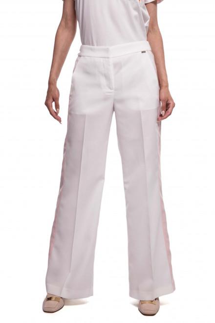 Штаны женские белые с розовыми лампасами расклешенные Le Couer