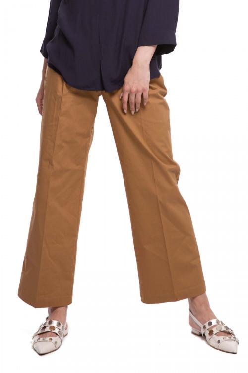 Штаны женские на резинке коричневого цвета широкие Le Couer