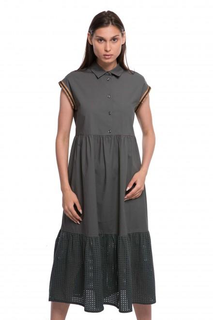 Платье женское с короткими рукавами и оборкой по подолу темно-зеленое Le Couer