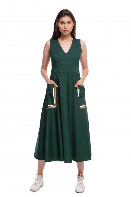 Платье женское без рукавов длина миди темно-зеленого цвета  Beatrice