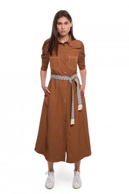 Платье женское коричневого цвета с поясом и четвертным рукавом Beatrice