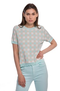 Пуловер женский с коротким рукавом и рисунком-шахматкой Riani