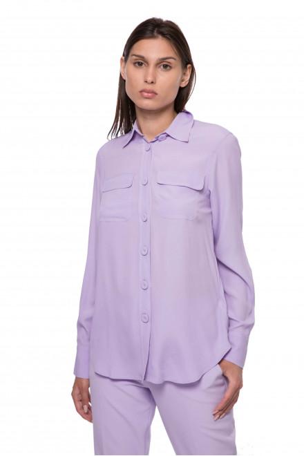 Блуза женская фиолетового цвета с нагрудными карманами и с длинным рукавом Riani