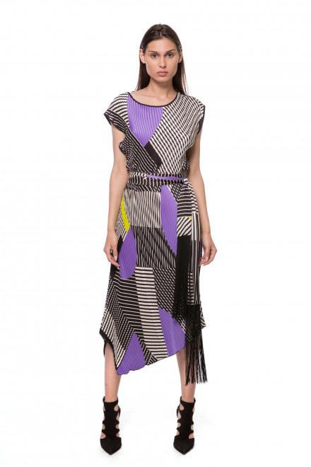Платье женское миди с асимметричным подолом белого цвета в геометрический принт Beatrice