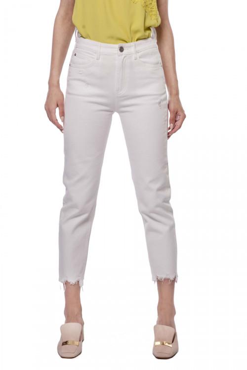 Штаны (джинсы) женские белого цвета узкие и с неровным краем Miss Sixty