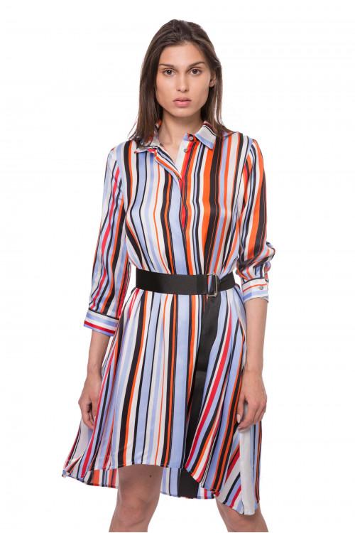 Рубашка женская белая в разноцветную полоску Sfizio