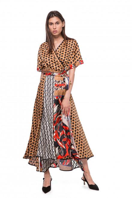 Платье женское на запах коричневого цвета в геометрический принт Beatrice