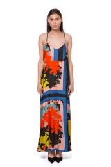 Платье женское на тонких бретелях свободного кроя в пол разноцветное Sfizio