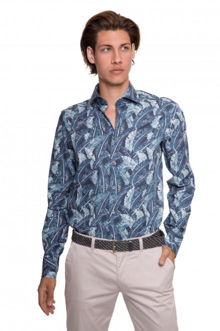Рубашка мужская полу приталенная синего цвета в серые листья LIVARA van Laack