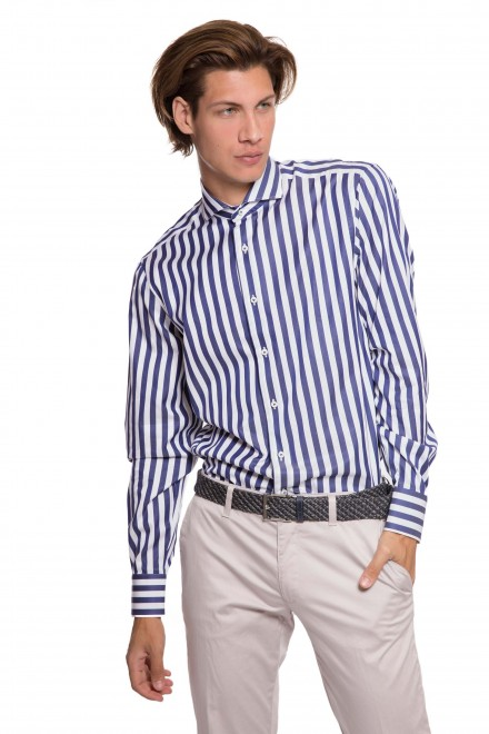 Рубашка мужская белая в широкую синюю полоску и с длинными рукавами van Laack