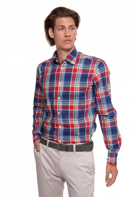 Рубашка мужская van красная в клетку с длинными рукавами van Laack