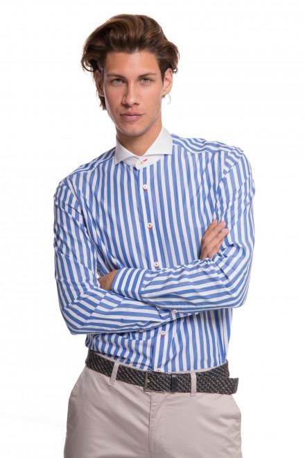 Рубашка мужская белая в синюю полоску с белым воротником van Laack