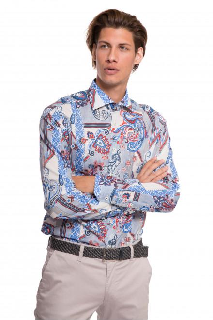 Рубашка мужская белого цвета с восточным орнаментом van Laack