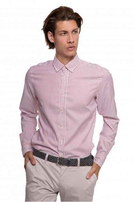 Рубашка мужская белого цвета в тонкую красную полоску van Laack