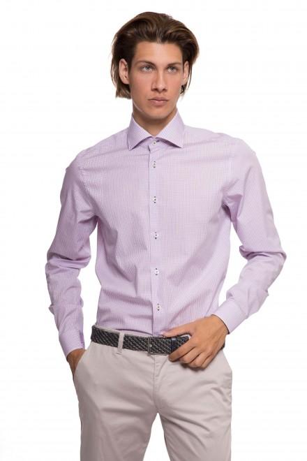Мужская рубашка сиреневого цвета в мелкую клетку van Laack