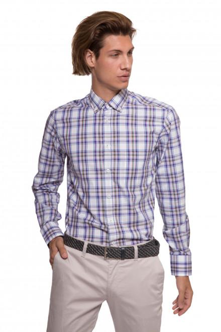 Рубашка мужская белая в клетку с длинным рукавом van Laack