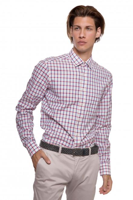 Мужская рубашка белая в синюю и красную клетку van Laack