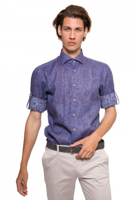 Рубашка мужская темно-синяя с длинными рукавами без рисунка van Laack