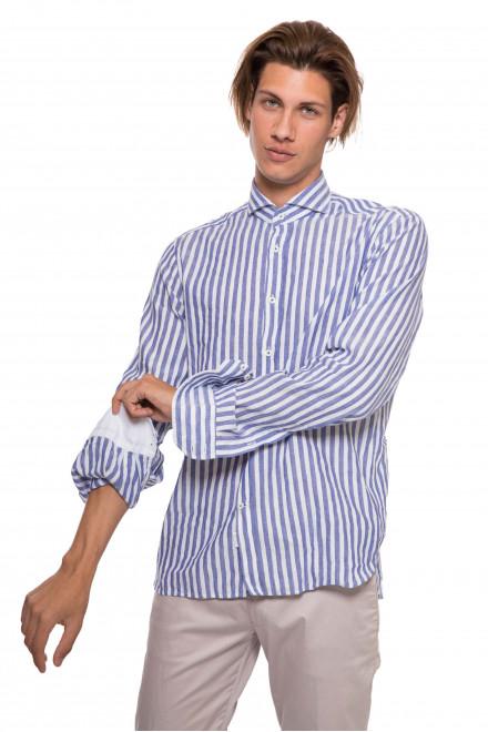 Рубашка мужская белая в синюю полоску с длинным рукавом van Laack