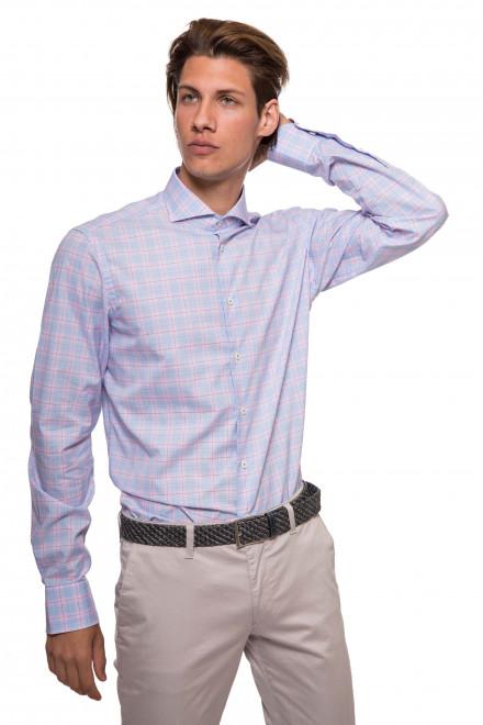 Рубашка мужская светло-синяя в розовую клетку и с длинными рукавами van Laack