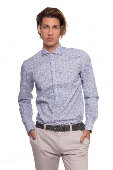 Рубашка мужская светло-голубая в мелкий принт с длинным рукавом van Laack
