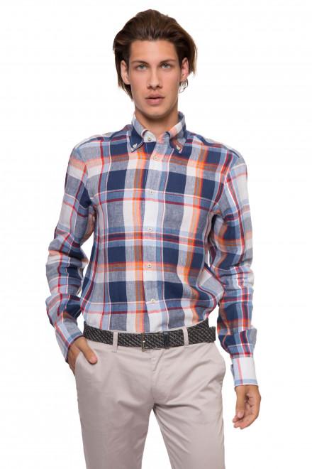 Мужская рубашка с длинным рукавом белая в крупную клетку льняная van Laack
