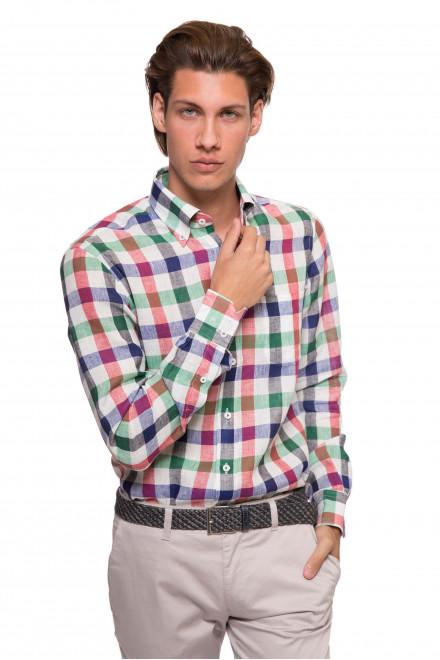 Рубашка мужская белая в разноцветную клетку и с длинным рукавом van Laack