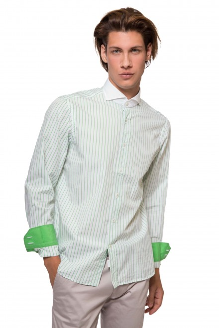 Рубашка мужская белого цвета в зеленую полоску с контрастным воротником van Laack