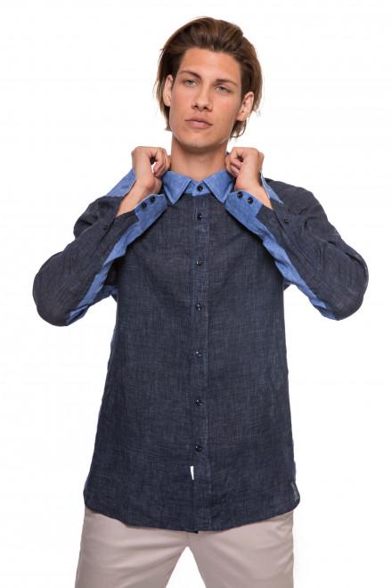 Рубашка мужская синяя с голубыми вставками льняная van Laack