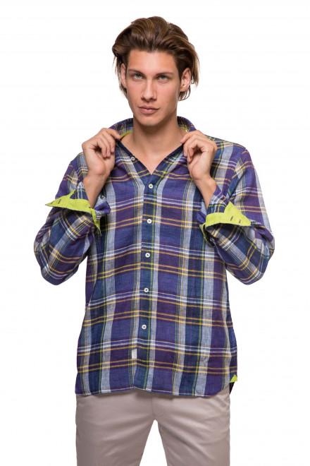 Рубашка мужская синяя в крупную клетку и с длинным рукавом van Laack