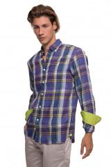 Синяя мужская рубашка в клетку van Laack 1