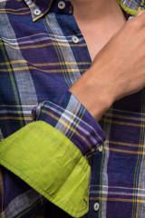 Синяя мужская рубашка в клетку van Laack 3