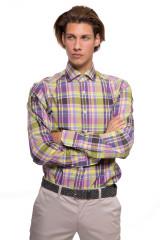 Рубашка мужская светло-зеленая в фиолетовую клетку van Laack