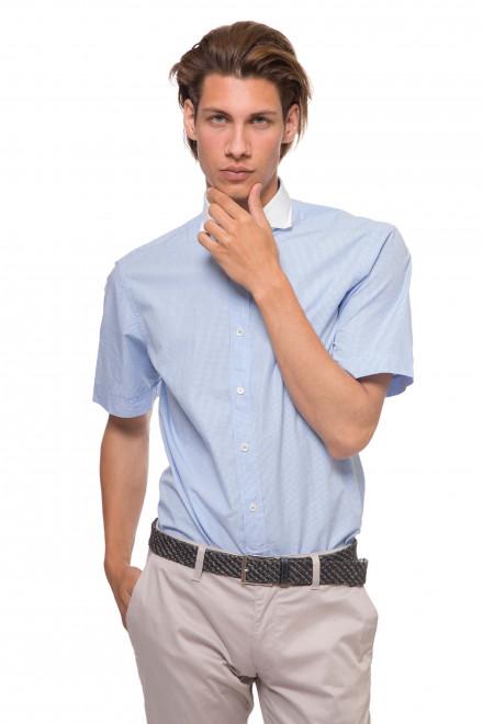 Рубашка мужская  летняя с короткими рукавами светло-голубого цвета van Laack