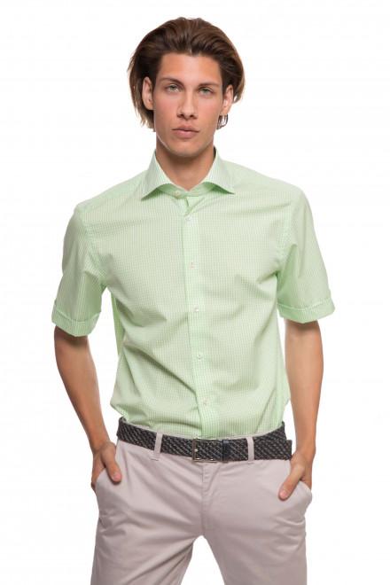 Рубашка мужская светло-зеленая в мелкую клетку и с коротким рукавом van Laack