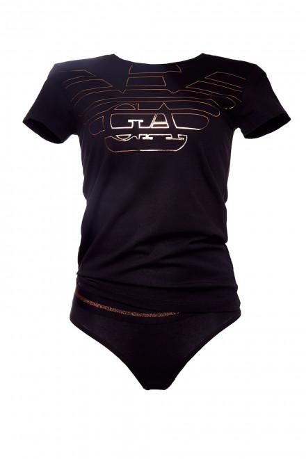 Пижама женская с шортами черная с логотипом Armani