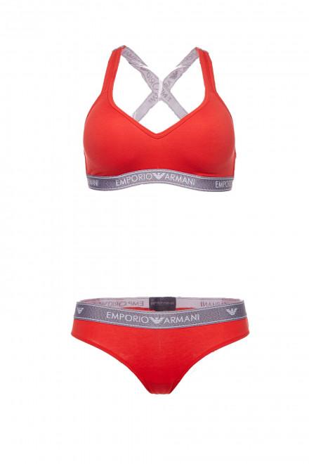 Топ женский спортивный  оранжевый с символикой Armani