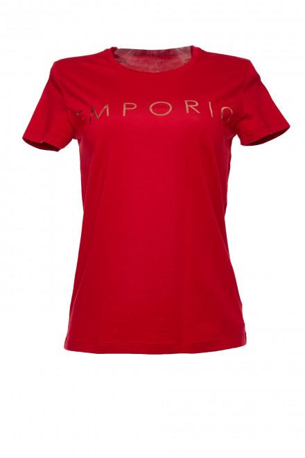 Футболка женская (топ) с коротким рукавом красная с надписью Armani