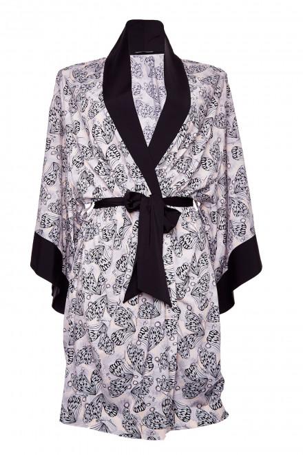 Кимоно (халат) женское на запах серое в анимал принт Armani