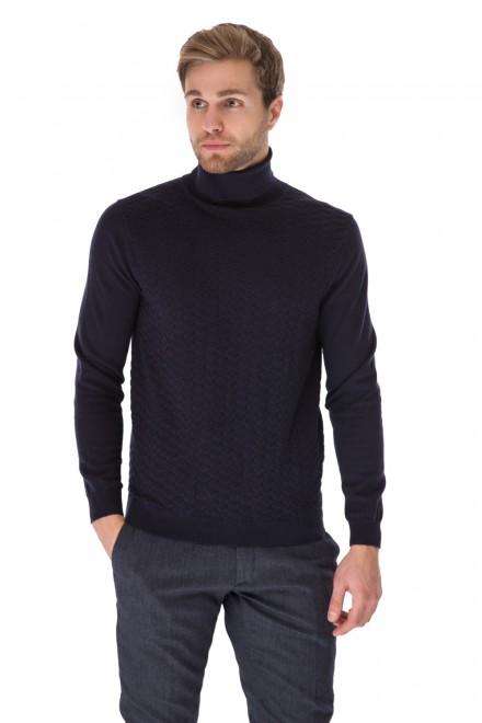 Пуловер мужской темно-синий под горло с фактурной вязкой Antony Morato