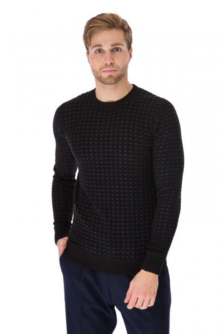 Пуловер мужской теплый синего цвета в клетку Antony Morato