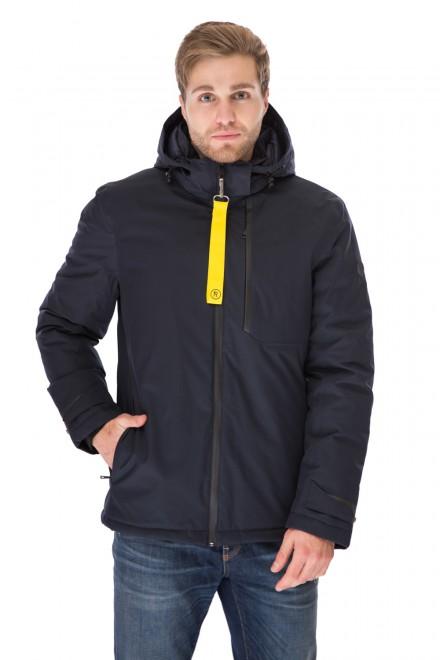 Куртка мужская зимняя темно-синяя на молнии короткая и объемная Reset