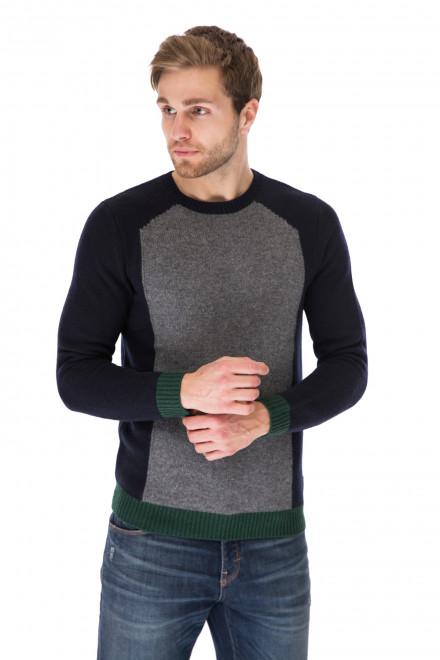 Пуловер мужской шерстяной синий с серыми вставками Antony Morato
