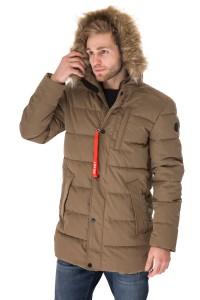 Куртка мужская зимняя коричневая простеганая  на молнии и капюшон с опушкой Reset