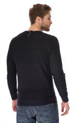 Пуловер мужской темно-синий вязаный с фактурными вставками Antony Morato
