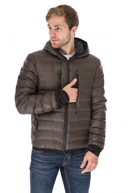 Куртка мужская зимняя коричневая стеганая короткая с капюшоном Antony Morato