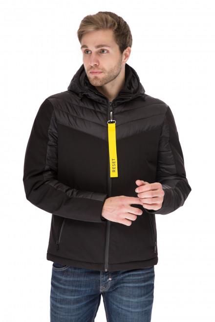 Куртка мужская зимняя черная короткая объемная с капюшоном Reset