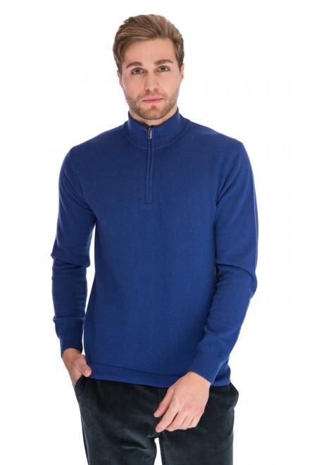 Пуловер мужской синий с воротником тройер Cadini