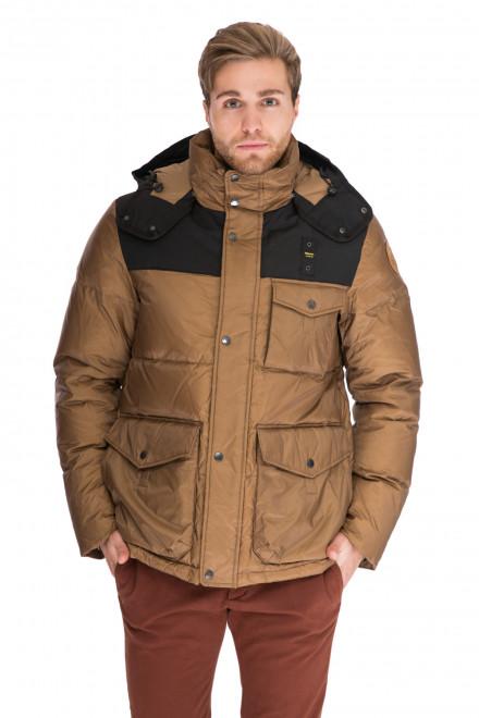 Куртка мужская (пуховик) коричневый с черными вставками и капюшоном на молнии Blauer