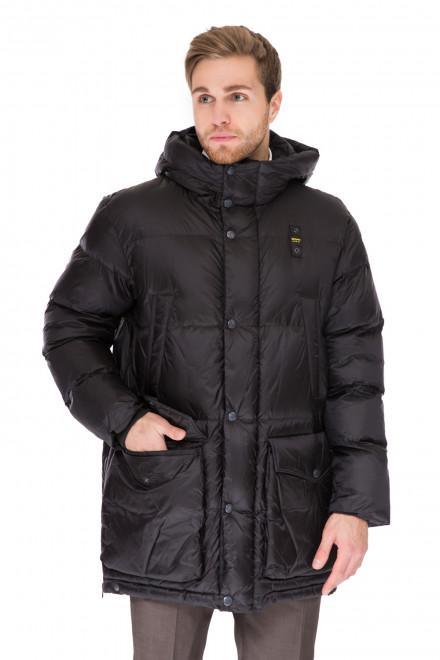 Куртка мужская (пуховик) черного цвета свободная с капюшоном Blauer